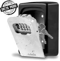 Key Lock Box - Key Safe Sturdy Wall Mount - Weather Proof Zinc Alloy Key Hider Storage Lockbox With Re-Settable 4 Digit Code Key Safe Box Large Capacity Holds Up To 7 Keys