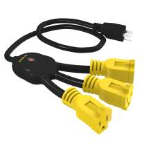 Stanley 31497 3 Extension Cord, Outlet Multiplier, Black/Yellow