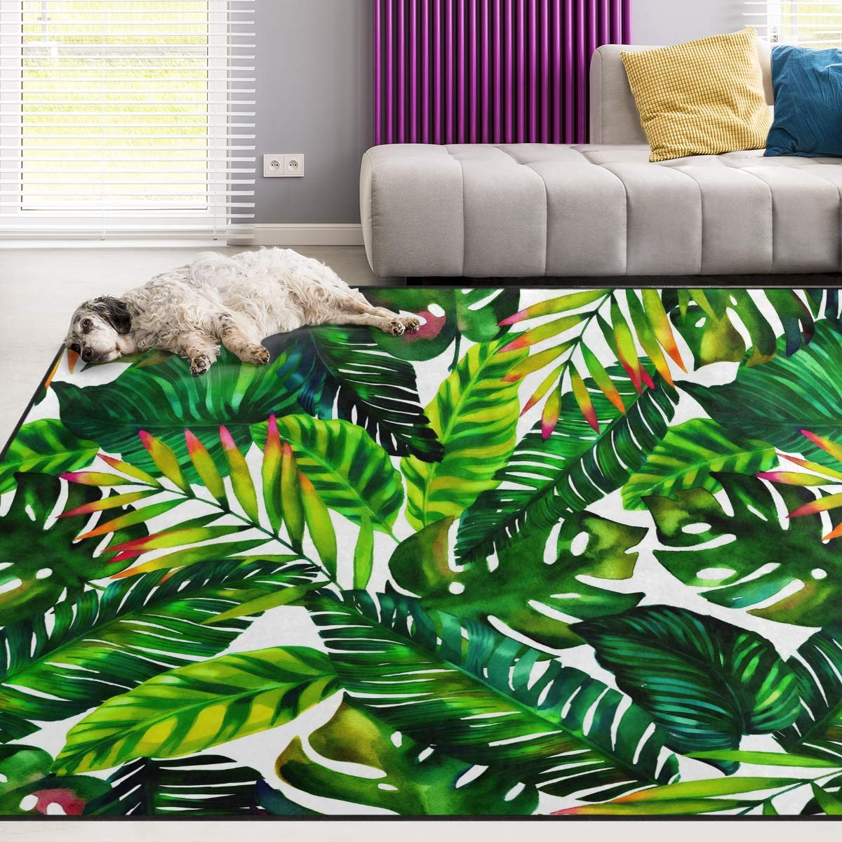 Naanle Palm Leaf Non Slip Area Rug for Living Dinning Room Bedroom Kitchen, 4' x 6'(48 x 72 Inches), Watercolor Tropical Leaf Nursery Rug Floor Carpet Yoga Mat