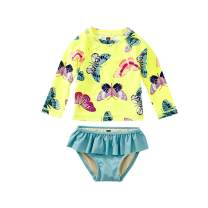 Tea Collection Ruffle Rash Guard Swimwear Set, Girls, Gossamar Glow