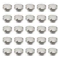 ZIPCCI Hose Clamp, 25 Pack Stainless Steel Worm Gear Fuel line Hose Clamps, 16-25mm (5/8-1 inch)