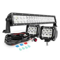 Nilight 22Inch 120W Spot Flood Combo Led Light Bar 2PCS 4Inch 18W Spot LED Pods Fog Lights with 16AWG Wiring Harness Kit-2 Leads,2 Years Warranty