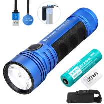 Olight Seeker 2 Pro Blue 3200 Lumens L-Dock Charging Powerful Rechargeable Side-Switch Tactical Flashlight,with 21700 Battery and Battery Case (Limited Edition Blue)