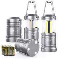 4 Pack LED Camping Lantern Flashlight with 12 AA Batteries - Magnetic Base - New COB LED Technology Emits 500Lumen - Collapsible, Waterproof, Shockproof Camping Light with Detachable Handles by LETMY