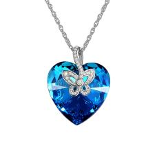 Cupimatch Women Blue Butterfly Heart Love Pendant Necklace Charm Chain Made with Swarovski Crystal