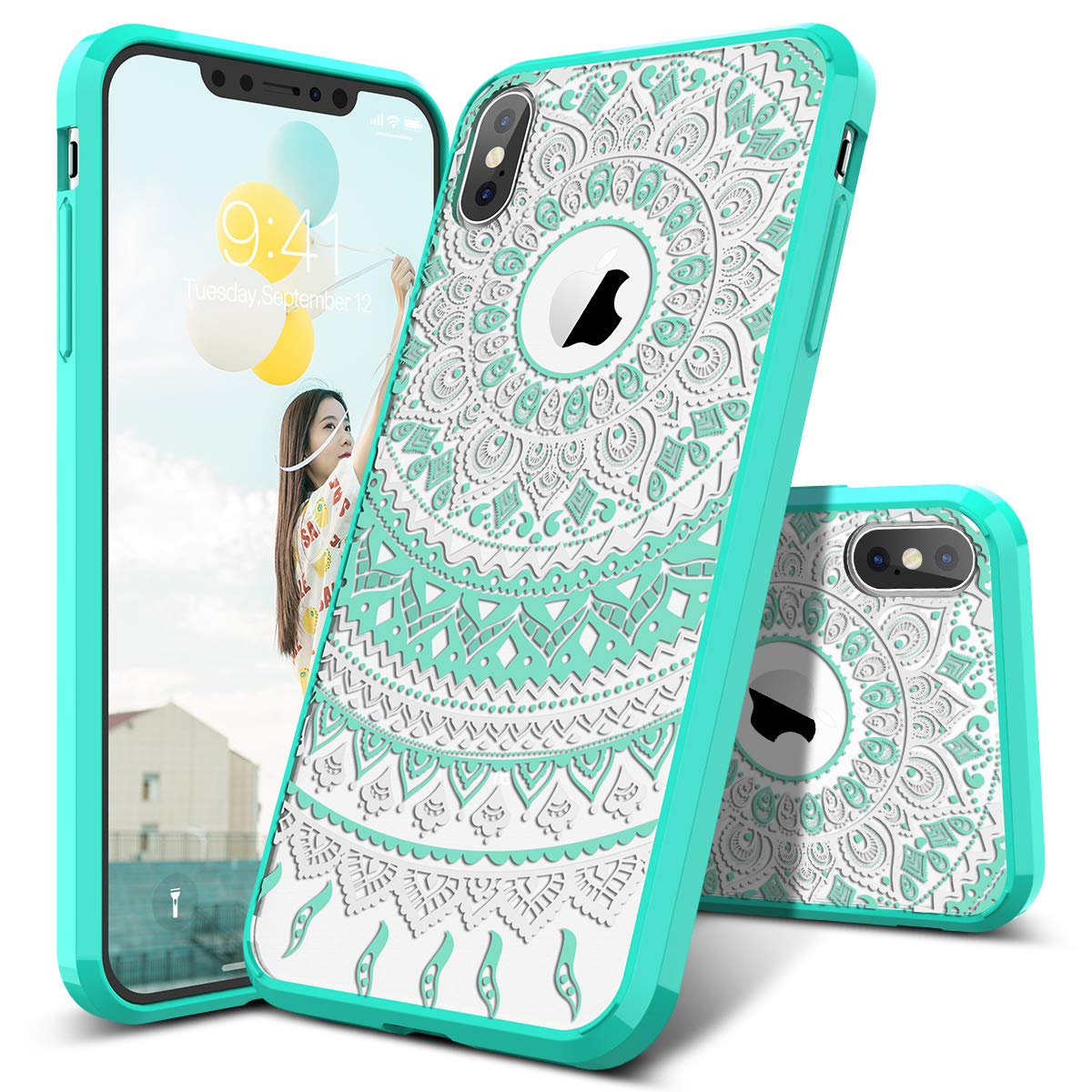 SmartLegend iPhone Xs Case, iPhone X Case, Girls Women Slim Anti-Slip Clear Hybrid Hard PC + TPU Bumper Mandala Floral Shockproof Full-Body Protective Phone Cover for iPhone X/Xs 5.8 Inch- Mint
