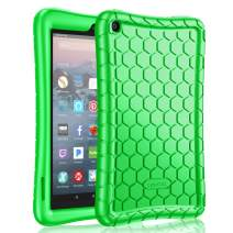 Fintie Silicone Case for All-New Amazon Fire 7 Tablet (9th Generation, 2019 Release) - [Honey Comb Series] [Kids Friendly] Light Weight [Anti Slip] Shock Proof Protective Cover, Green