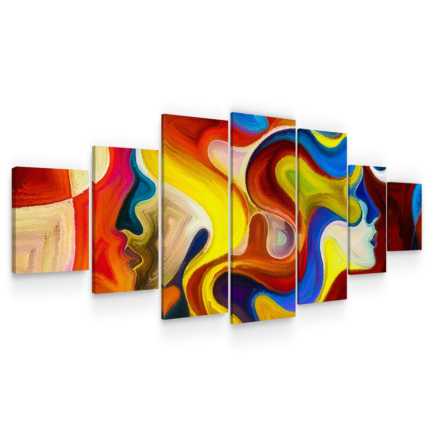 Startonight Large Canvas Wall Art Abstract - Nymphs with Curly Hair - Huge Framed Modern Set of 7 Panels 40 x 95 Inches
