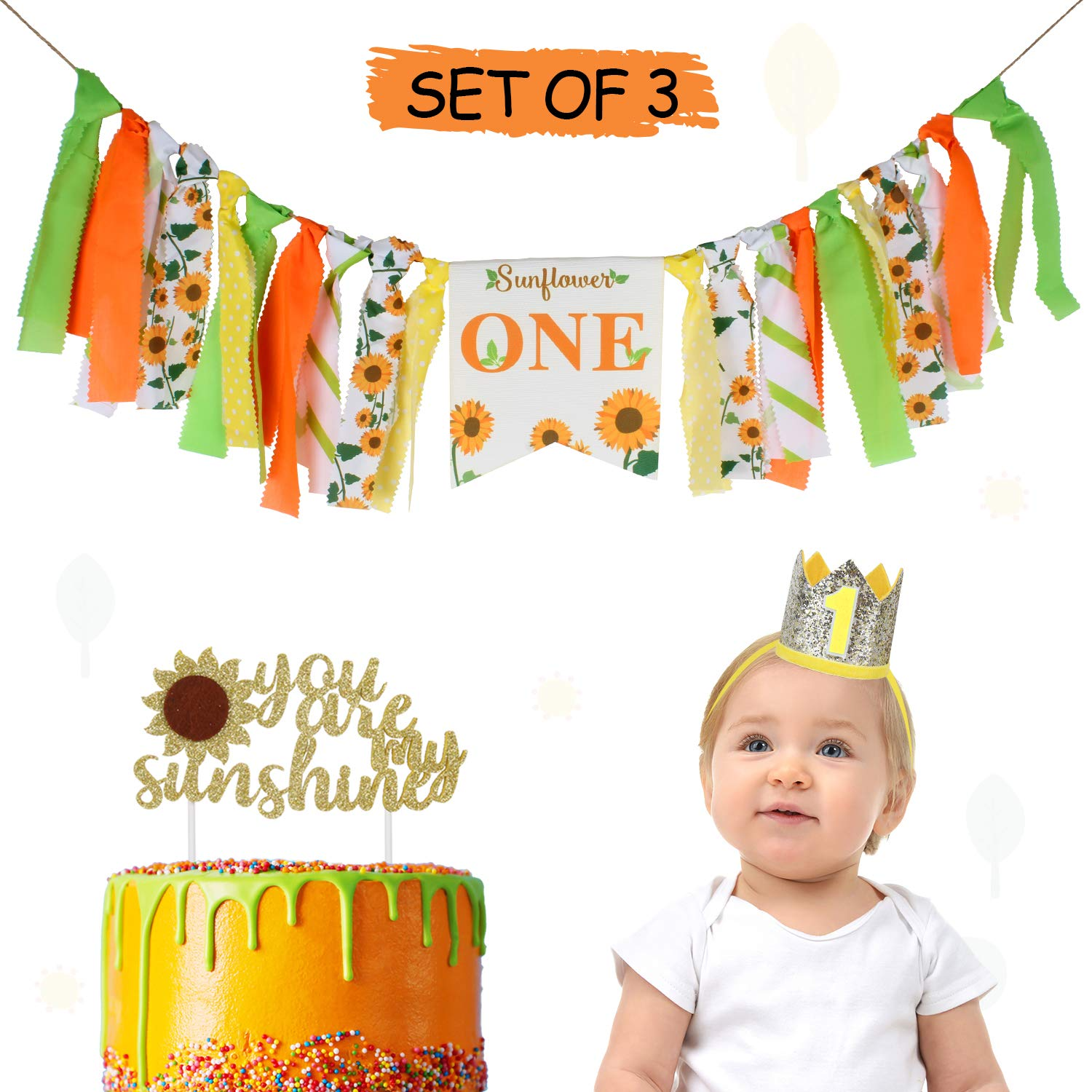 Baby 1st Birthday Party Decoration Set with 1st Birthday Crown Hat, Sunflower Highchair Burlap Banner, You are My Sunshine Cake Topper Newborn First Bday Decorations Sign - Netural (Boy or Girl)