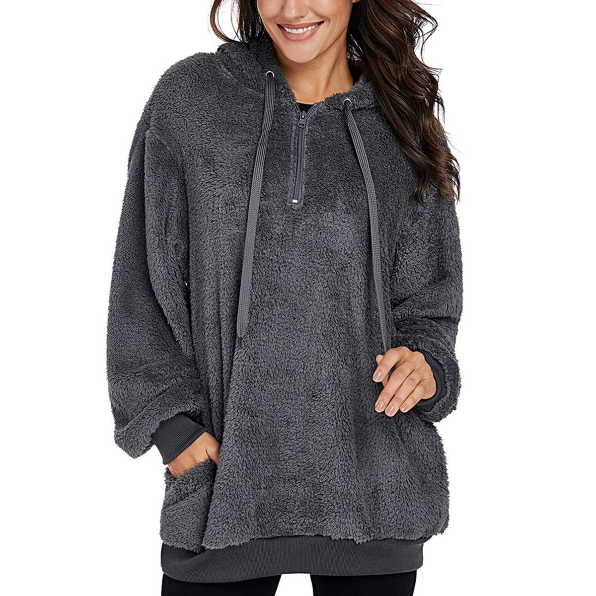 Womens Oversized Fashion Long Sleeve Zipper Sweatshirt Fleece Pullover Outwear Coat with Pockets Hoodie Tops