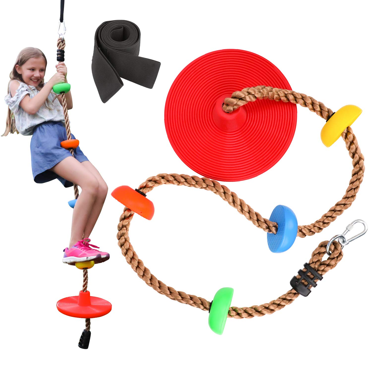 Sorbus Disc Swing Seat - Kids Monkey Rope Tree Zip Line Play Set Swings for Outdoor Backyard, Playground Fun, Over 6ft, Red