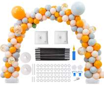 Balloon Arch Kit, 9FT Tall &10Ft Wide Adjustable Plastic Balloon Column Stands Set with Water Fillable Bases and Water Bag 50 Balloon Clips,1 Manual Pump,2 Balloon Knotter, Dot Glue,2 Flower Clips