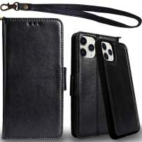 Mefon Genuine Leather iPhone 11 Pro Case Wallet, Magnetic Detachable, Wireless Charging Compatible, with Tempered Glass and Wrist Strap, Luxury Flip Leather Folio Cases for iPhone 11 Pro 5.8 (Black)