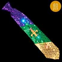 Lumistick 16 Inch Light-Up Mardi Gras Necktie - Ultra Bright Glowing LED Neckwear - Flashing Fleur de Lis Pattern Tie - Multicolor Vibrant Flashlights Tie (60 Ties)