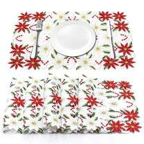 AerWo 6Pcs Christmas Holiday Placemats, Embroidered Poinsettia Christmas Table Place Mats for Christmas Dinner Christmas Table Decorations 12 × 18 Inch