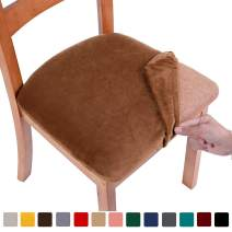 smiry Original Velvet Dining Chair Seat Covers, Stretch Fitted Dining Room Upholstered Chair Seat Cushion Cover, Removable Washable Furniture Protector Slipcovers with Ties - Set of 2, Camel