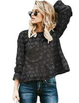 2019 Women's Fall Off Shoulder Floral Shirts Chiffon Blouse 3/4 Bell Sleeves Ruffle Tunic Lace Top