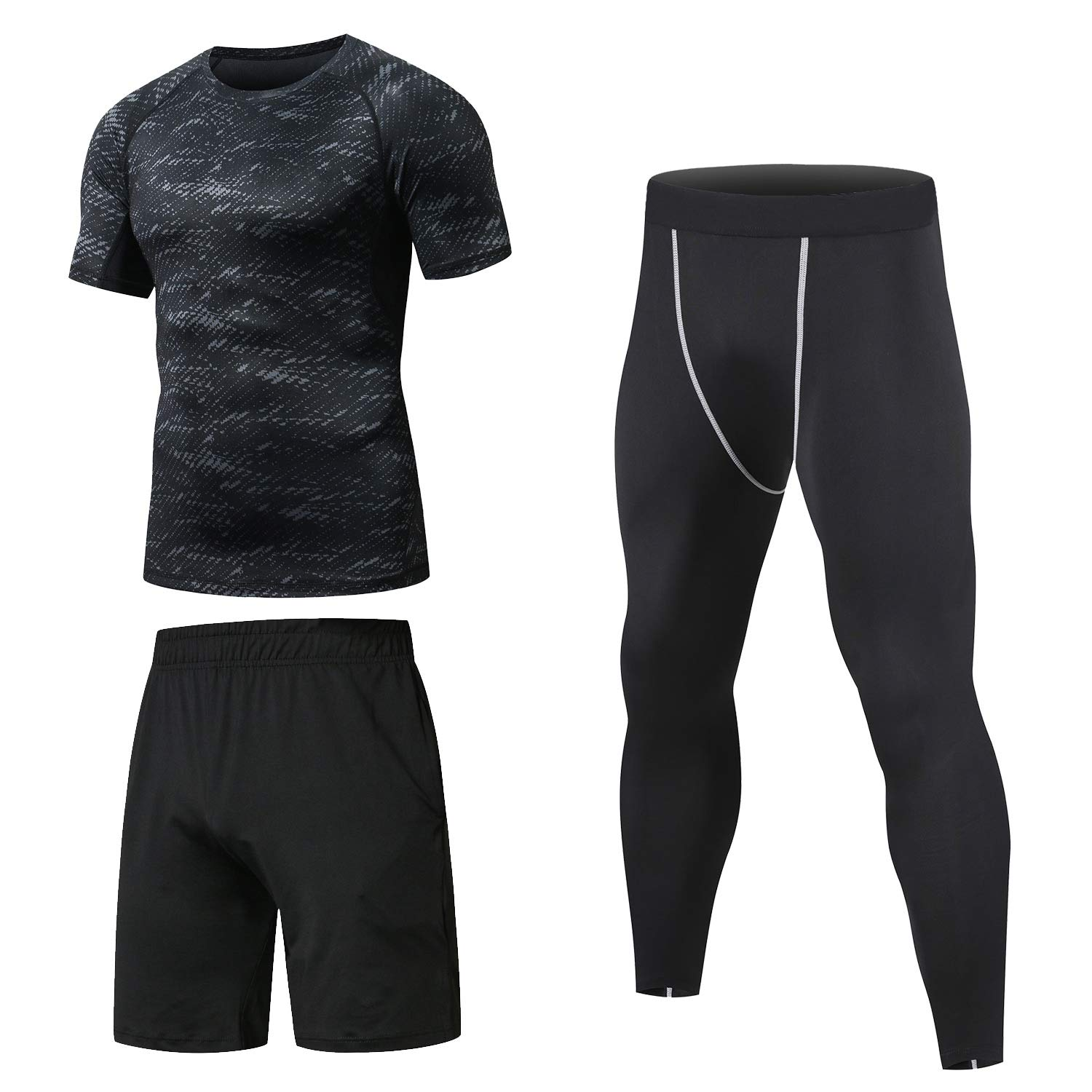 Niksa 3 Pcs Men's Workout Clothes Set with Compression Pants, Sweat-Wicking Shirt and Loose Fitting Shorts