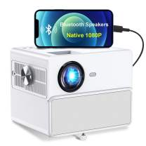 Native 1080P Projector Support 4K, TOWOND 2021 Movie Projector for Outdoor Use, 7000LUX Portable Night Backyard Movie Projector with Bluetooth Speakers, Compatible with Stick/Laptop/ps5/Phone-White