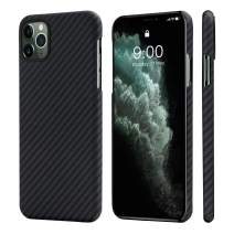 """PITAKA Magnetic Phone Case for iPhone 11 Pro 5.8"""" Minimalist MagEZ Case 100% Aramid Fiber [Body Armor Material] Durable Perfectly Fit Cover-Black/Grey(Twill)"""