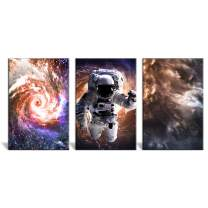 """wall26 - 3 Panel Canvas Wall Art - Space Theme with The Universe Cosmic Dust and The Astronaut - Giclee Print Gallery Wrap Modern Home Decor Ready to Hang - 24""""x36"""" x 3 Panels"""