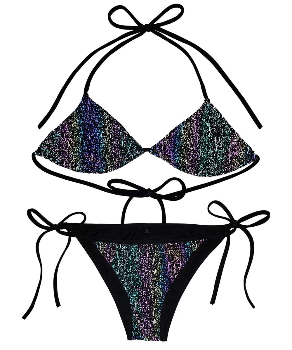 AKFLY Triangle Bikini Swimsuit for Women Halter Bikini and Honeymoon Reflective Swimwear