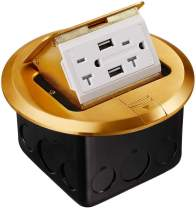 TORCHSTAR Round Pop Up Floor Outlet Box, UL Listed, 20A 2AC Receptacles & 2 USB Ports, Electrical Outlet with Junction Box, Damping Spring & Anti Electric Shock Plate, Brass Cover
