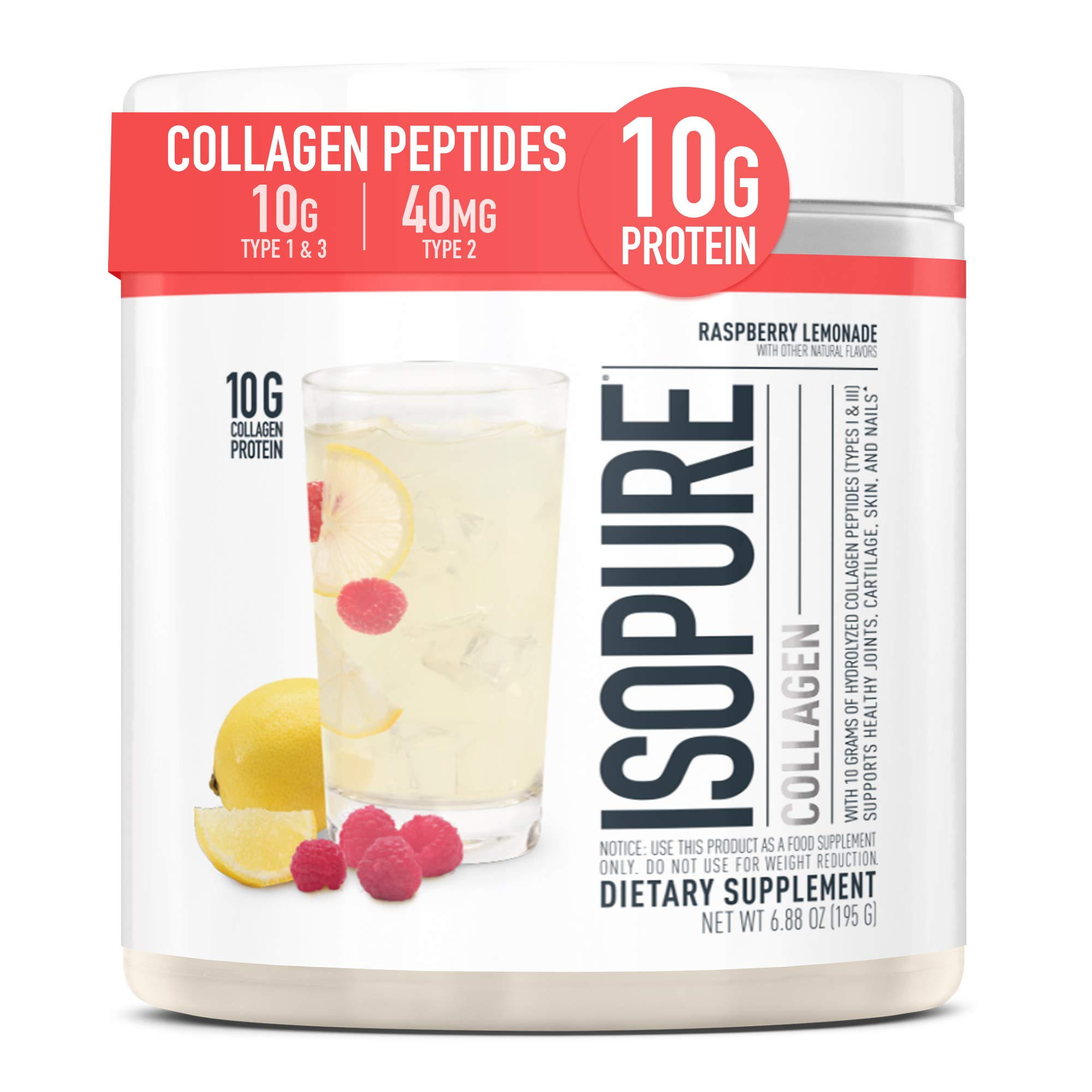 Isopure Multi Collagen Peptides Protein Powder, Vitamin C for Immune Support, Type 1, 2 & 3, Keto Friendly, Recovery Support, Joints, Cartilage, Skin & Nails - Gluten Free, Raspberry Lemonade, 15 Serv