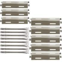 Hisencn 8Pack Repair Kit Stainless Steel Grill Burners,Heat Plates, Heat Shield Replacement for Bakers and Chefs GR2039201-BC-00, GD430, ST1017-012939, Grill Chef, Members Mark Gas Grill Models