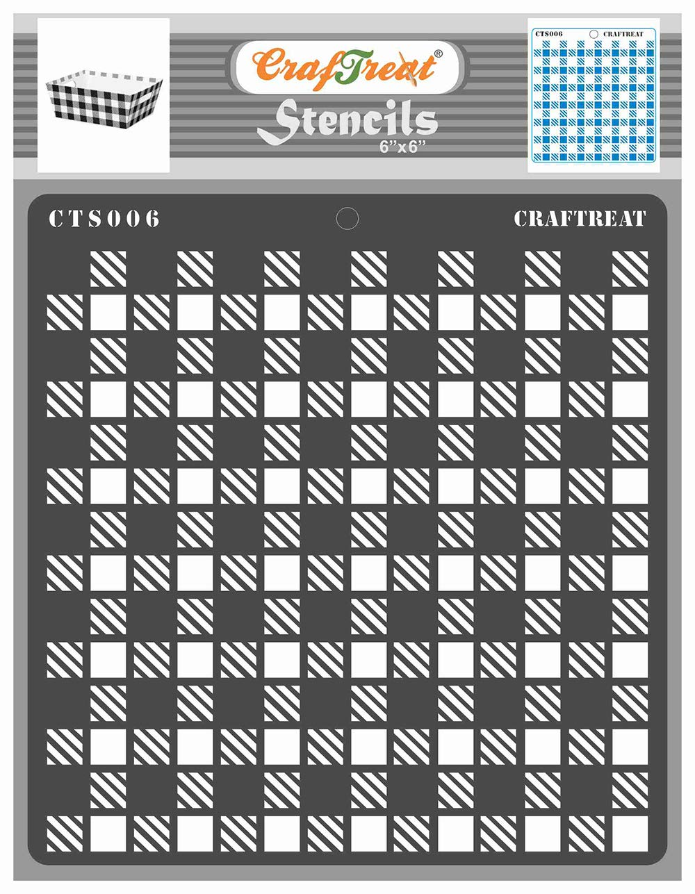 CrafTreat Geometric Stencils for Painting on Wood, Wall, Tile, Canvas, Paper, Fabric and Floor - Shepherds Checkers Stencil - 6x6 Inches - Reusable DIY Art and Craft Stencils
