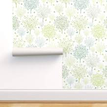 Spoonflower Peel and Stick Removable Wallpaper, Birds Among Trees Minimalist Tree Nursery Decor Spring Bird Garden Print, Self-Adhesive Wallpaper 24in x 108in Roll