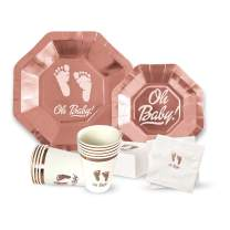 "OH Baby Shower Party Supplies for Girl or Boy 64 Piece Set - 9"" Plates, 7"" Plate, Napkins, Cups. Serves 16 - Premium Rose Gold Collection"