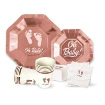 """OH Baby Shower Party Supplies for Girl or Boy 64 Piece Set - 9"""" Plates, 7"""" Plate, Napkins, Cups. Serves 16 - Premium Rose Gold Collection"""