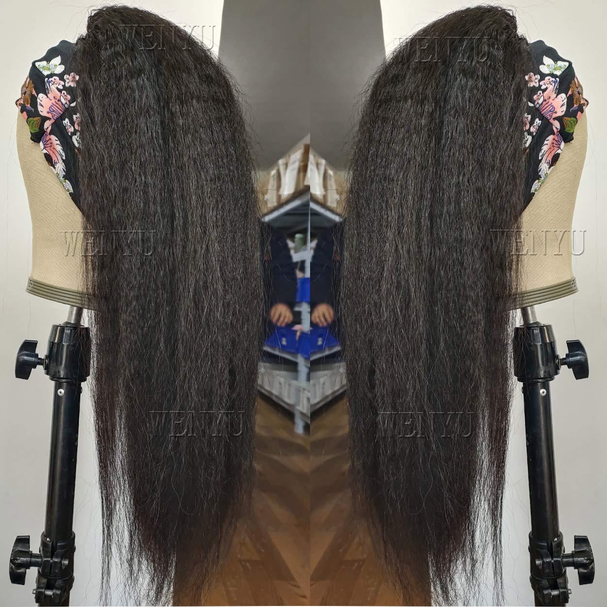 WENYU Headband Wigs for Black Women Human Hair Kinky Straight Headband Wig Human Hair Curly None Lace Front Wigs Machine Made Briazilian Virgin Hair Wigs 14 Inch