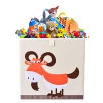 Bagnizer Animal Kids Toy Storage Organizer Foldable Toy Chest Fabric Toy Bin/Boxes/Basket/Trunk for Girls and Boys Kids Toddler Nursery, 13inch Cube, Orange Sheep