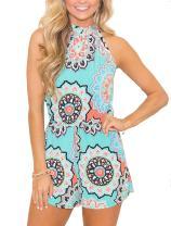 Relipop Women's Jumpsuits Floral Print Sleeveless Elastic High Waist Casual Short Romper