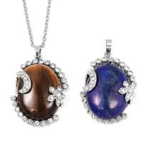 """Shop LC Delivering Joy Lapis Lazuli Tigers Eye White Crystal Pendants Necklace in Stainless Steel 24"""""""