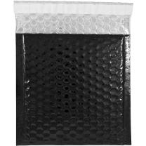 JAM PAPER Bubble Padded Mailers with Hook & Loop Closure - CD Size - 6 x 6 1/2 - Black Metallic - 12/Pack