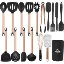 Mibote 17 Pcs Kitchen Utensils Set with Holder, Silicone Cooking Kitchen Utensils Set with Stainless Steel Handle (Copper)