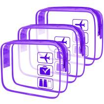 ANRUI Clear Toiletry Bag TSA Approved Travel Carry On Airport Airline Compliant Bag Quart Sized 3-1-1 Kit Travel Luggage Pouch 3 Pack (Purple)