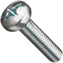 Class 4.8 Steel Machine Screw, Zinc Plated Finish, Pan Head, Phillips Drive, Meets DIN 7985, 50mm Length, M6-1 Metric Coarse Threads (Pack of 50)
