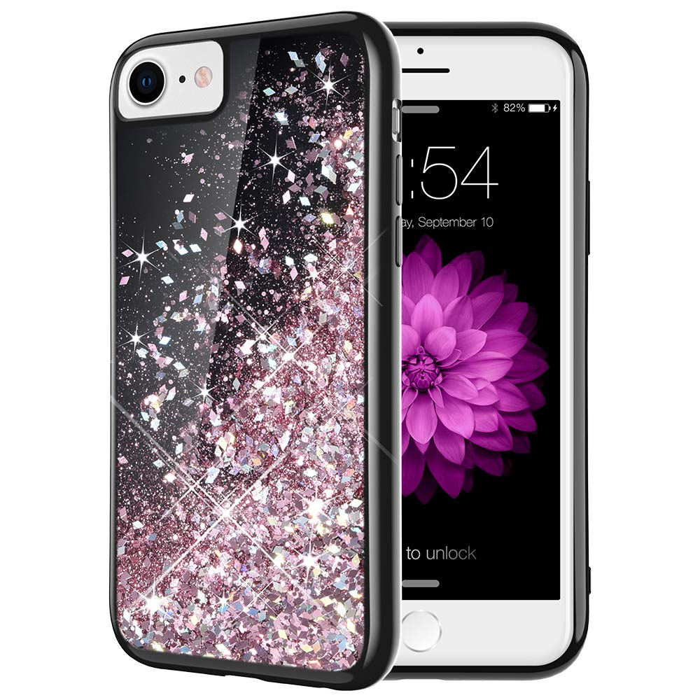 Caka iPhone 7 Case, iPhone 7 8 Glitter Case Starry Night Series Bling Flowing Floating Luxury Liquid Sparkle Soft TPU Glitter Case for iPhone 6 6S 7 8 (4.7 inch) (Rose Gold)