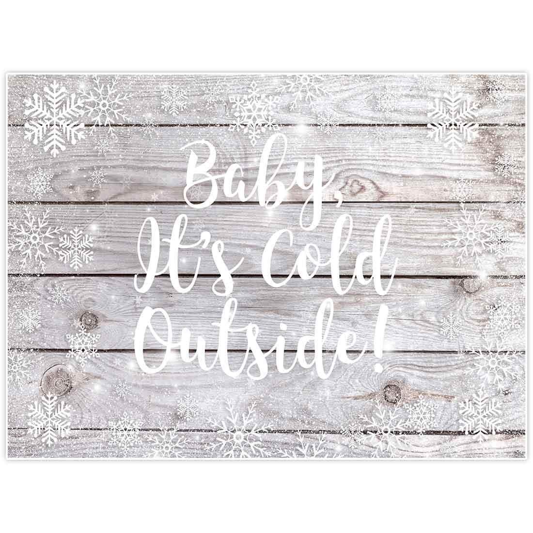Allenjoy 8x6ft Baby It's Cold Outside Winter Wonderland Theme Backdrop for Kid Birthday Party Supplies Banner Rustic Wood Wooden White Background Christmas Xmas Baby Shower Decorations Favors