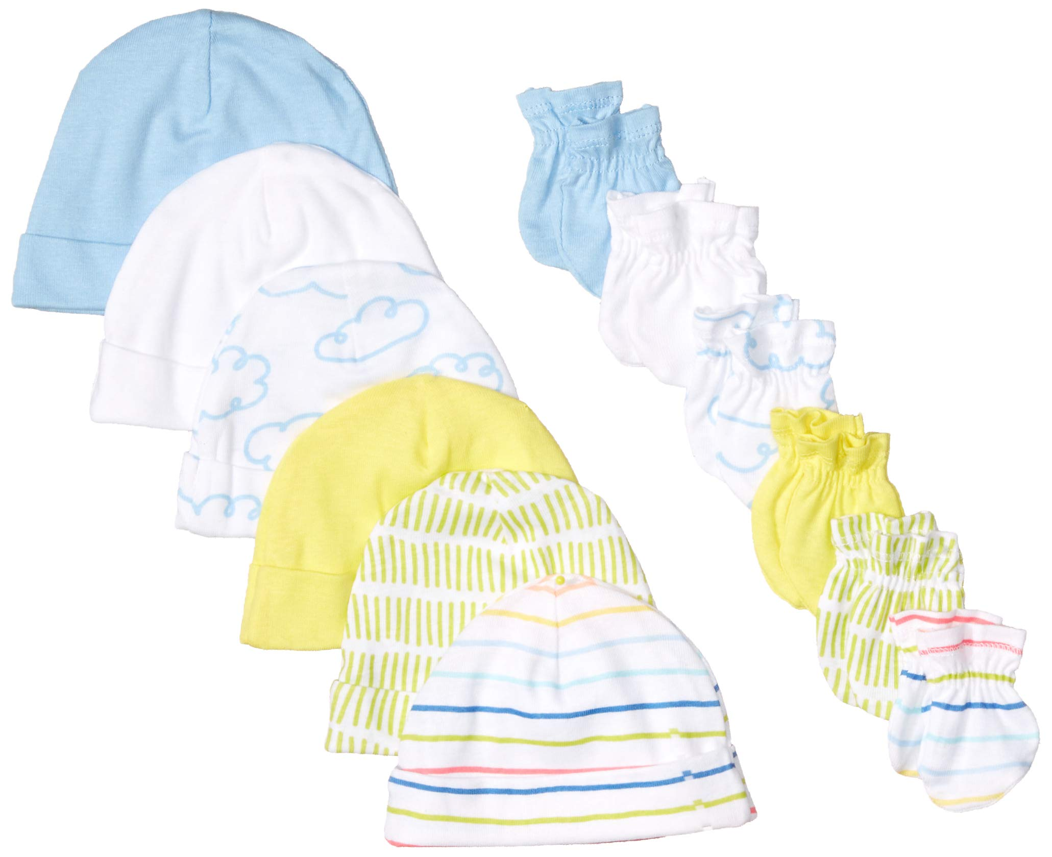 Onesies Brand Baby Girls' 12-Piece Cap and Mitten Set
