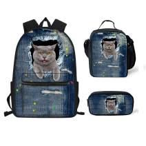 chaqlin Garfield Cat Backpack Children Cartoon Corgi School Bag + Food Lunchbox + Pencil Case for Boys Girls