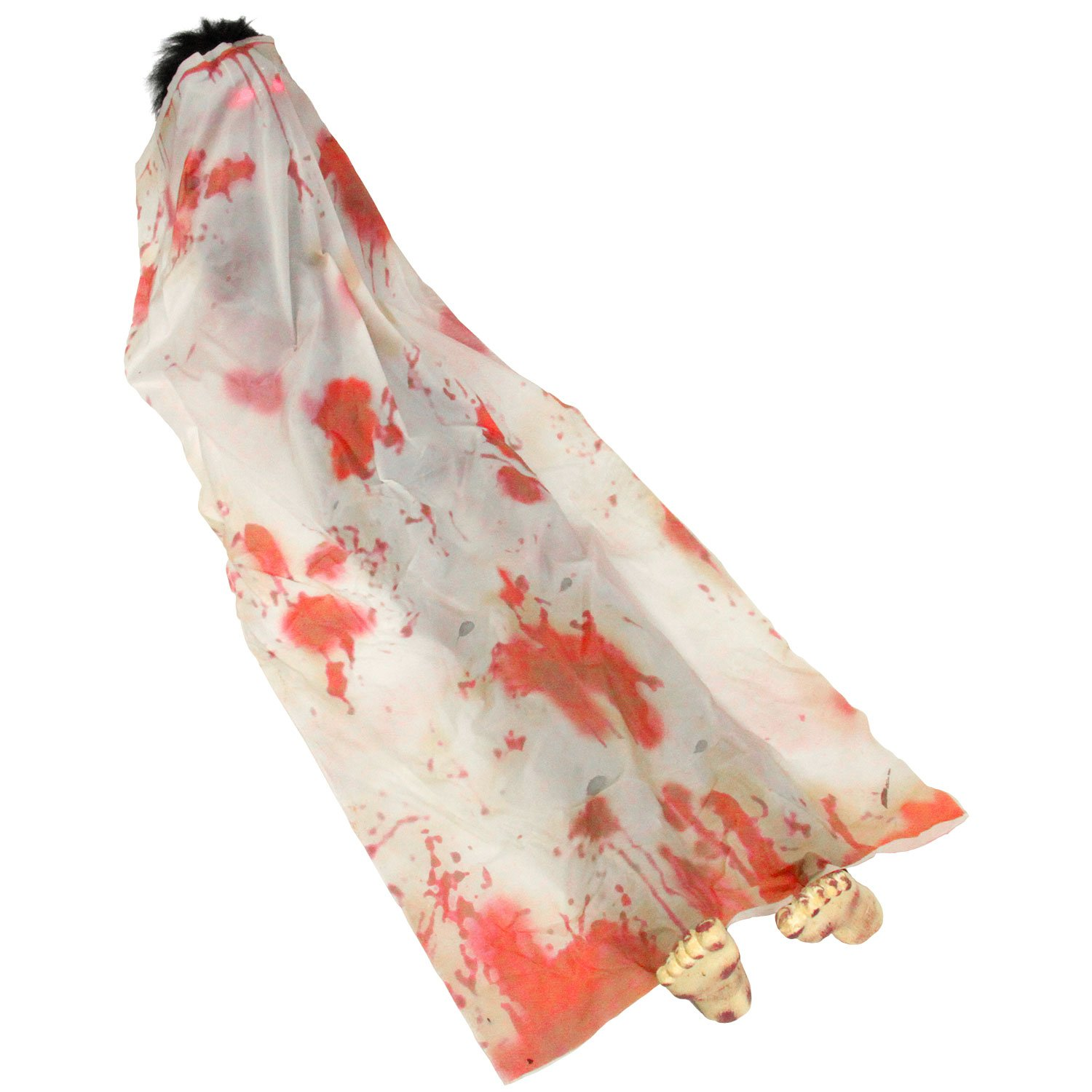 Halloween Haunters 6 Foot Animated Bloody Death Bed, John Doe Corpse Dead Man Body Bag Prop Decoration - Zombie Rises Up from The Dead - Graveyard, Cemetery, Haunted House Display - Battery Operated
