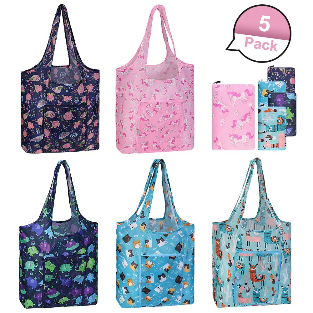 Reusable Grocery Bags Set, 5 Pack Foldable into Attached Pouch, Washable Durable Lightweight Waterproof Shopping Bag (Cute Animal Pattern, Made of ECO Friendly Oxford)