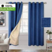 BGment 100% Blackout Curtains with Liner for Bedroom, Grommets Thermal Insulated Textured Linen Lined Curtains for Living Room (52 x 84 Inches, 2 Panels, Dark Blue)