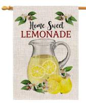 BLKWHT Summer Home Sweet Lemonade House Flag Vertical Double Sided 28 x 40 Inch Green Truck Yard Outdoor Decor