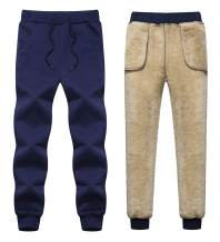 Gihuo Men's Winter Warm Sherpa Lined Sweatpants Running Jogger Pant
